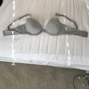 grey bra with white lace, size 38D